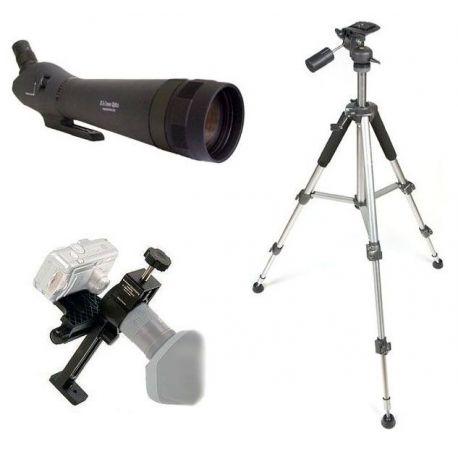 Kit Digiscoping  80EX - Telescopio zoom 24-72x + Adaptador + Trípode Aluminio