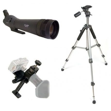 Kit Digiscoping 80EX - Telescopio zoom 24-72x + Adaptador + Trípode Aluminio
