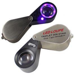 Lupa triplete 30X con luz LED dual blanca y UV