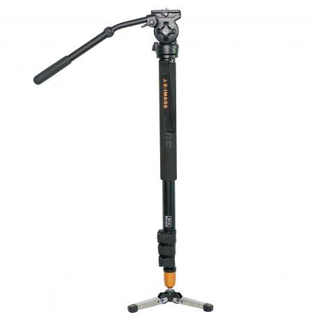 Monopie E-Image MA-70 de aluminio con cabeza y base para vídeo fluido