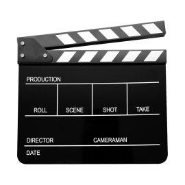Claqueta de cine E-Image acrílica negra con franjas negras y blancas (ECB-01)