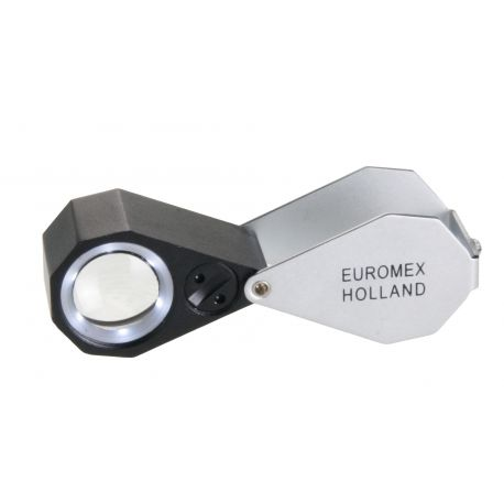 Lupa Triplete Acromática Plegable Euromex 15x 21 mm - LED Blanco y UV