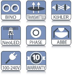 Iconos tecnológicos del microscopio Euromex Oxion 3042 de campo oscuro de fase